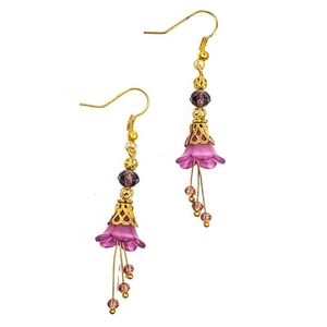Jewelry - Purple Lucite and Crystal Drop Flower Earrings